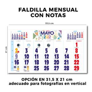 Calendario de pared faldilla mensual 33.5