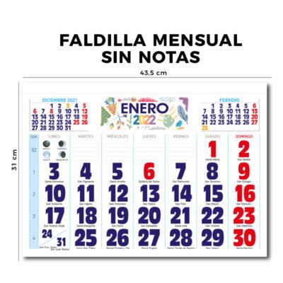 Calendario de pared faldilla mensual 43.5 cm