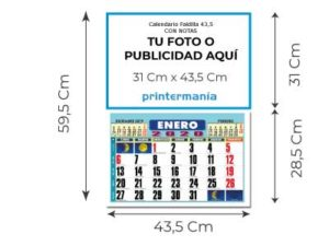 calendario pared 43.5