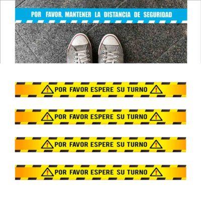 Pack 4 Pegatinas Vinilo suelo especial distancia de seguridad 100×10