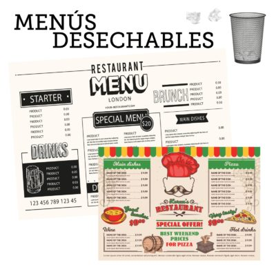 Tus cartas o menus en papel desechable