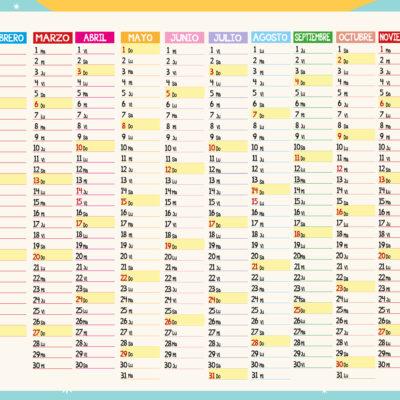 Calendario planning con colgador metálico