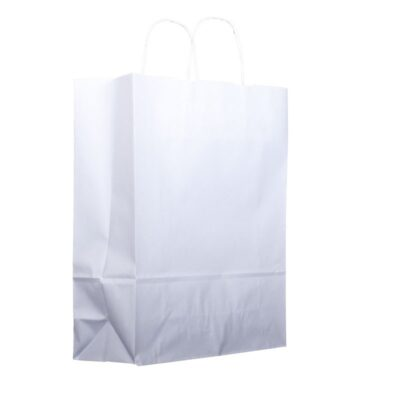 Bolsa de papel blanca con asa retorcida