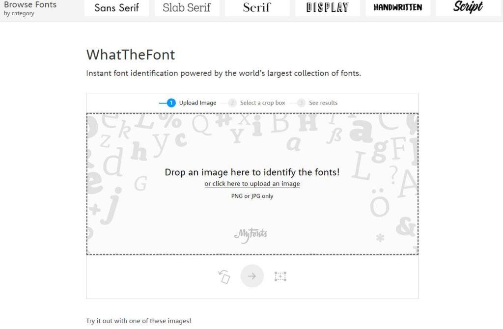 explorar tipografías en whatthefont
